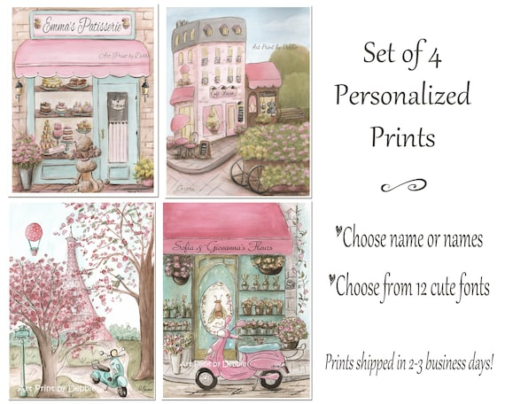 Personalised Nursery Art For Girls, Vintage Blush Pink Paris Travel Themed  Girls Bedroom, Set Of 4, Twin Girl Baby Shower Gift Idea, 6 Sizes