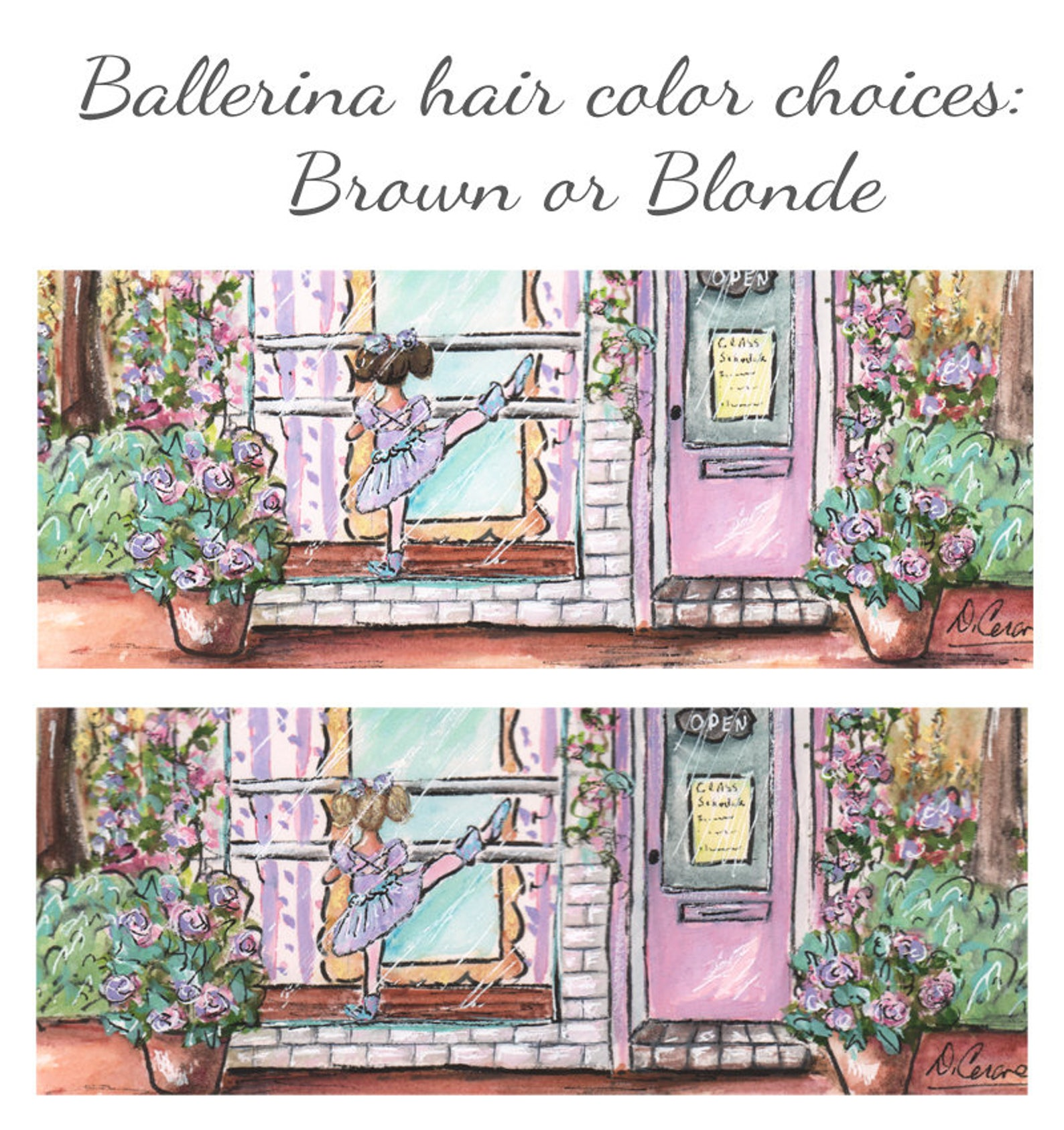 set of 3 ballet prints for girl ballerina gift personalized shabby chic vintage purple soft blush lavender, choose hair color, t