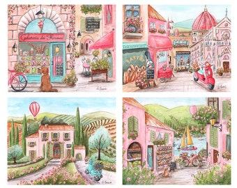 Travel Themed Nursery, Italian Girl, Travel Theme Nursery, Custom Girl's Name, Set of 4,  Personalized Baby Shower Gift, Nursery Wall Art