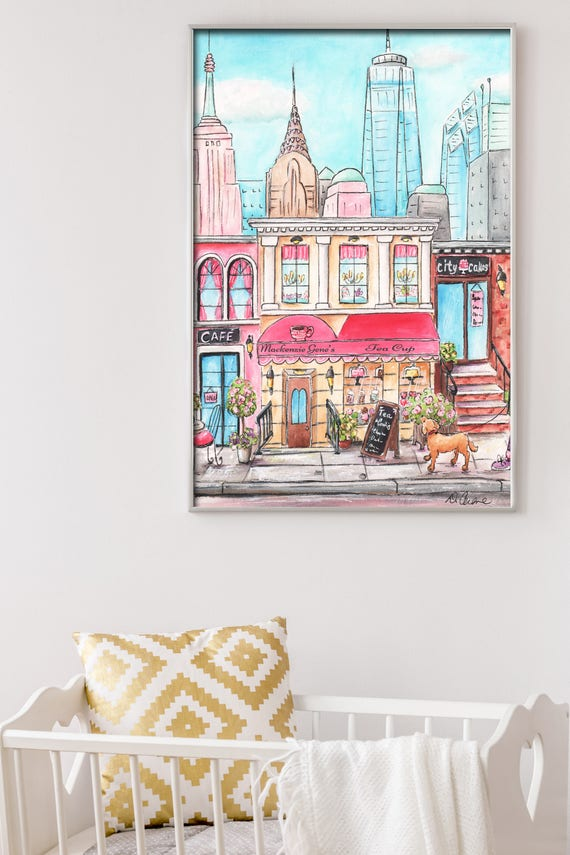New York City Art Poster For Girls Travel Themed Bedroom, NYC Personalized  Baby Gift, Nursery Pink Skyline Fashion City Wall Decor - 6 Sizes