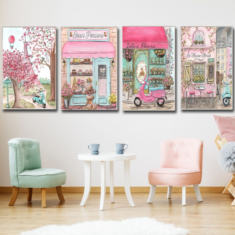 Cute pink Paris bedroom decor Personalized girls name Travel theme nursery  prints Set of 4 prints French themed room Baby shower gift