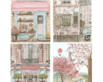 Girls Pink Coral Bedroom Paris Bedroom Decor, Set Of 4, Travel Theme Nursery, Personalize 3 Prints In Set, Teal Blue, Vintage Shabby Chic