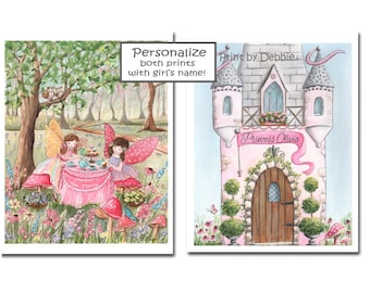 Fairy Tea Party Custom Name Prints, Set Of 2, Princess Castle, Pink And Purple, Flowers Butterflies, Cute Fairy Art, Choose Fairy Hair Color