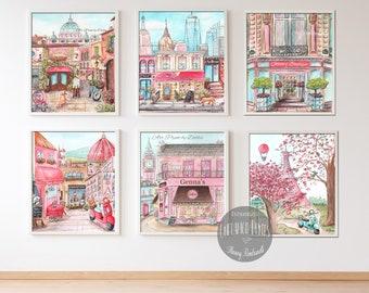 Personalized Baby Name Travel Theme, Pink Girls Bedroom Decor, Set Of 6 Prints, Florence, London, Paris, New York, Rome, Travel Nursery