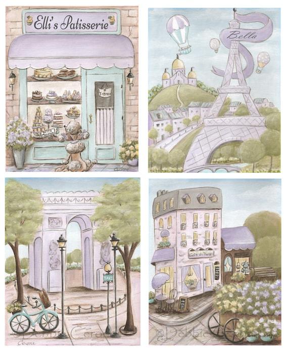 Purple Shabby Chic Bedroom: Vintage Paris Nursery Prints Purple Shabby Chic Girls