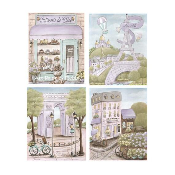 Purple Paris Nursery Paris Bedroom Decor Set Of 4   Etsy