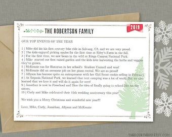 5x7 christmas letter template in pdf for print year in review rustic christmas newsletter layout 3 text only adobe reader required