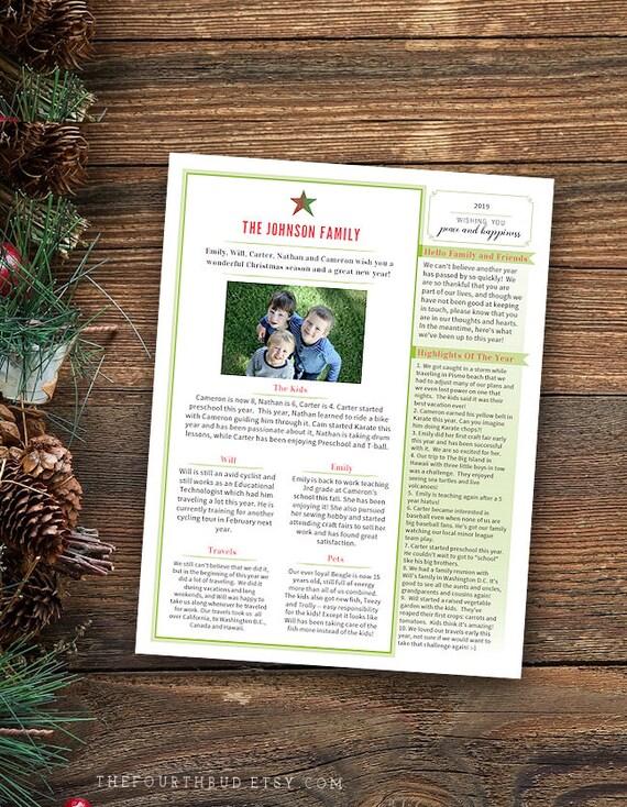 Christmas Letter Template Christmas Newsletter In Pdf For Etsy