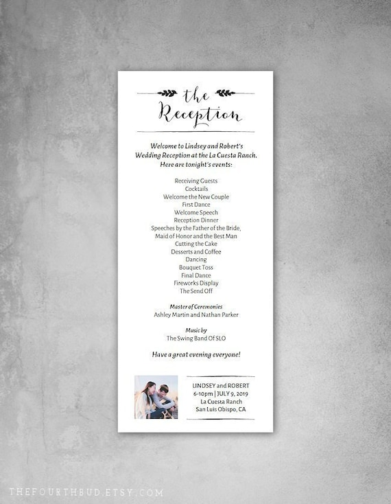 4 X 9 25 Wedding Reception Program Template With Photo Entry Wedding Program Template For Print Diy Adobe Reader Required