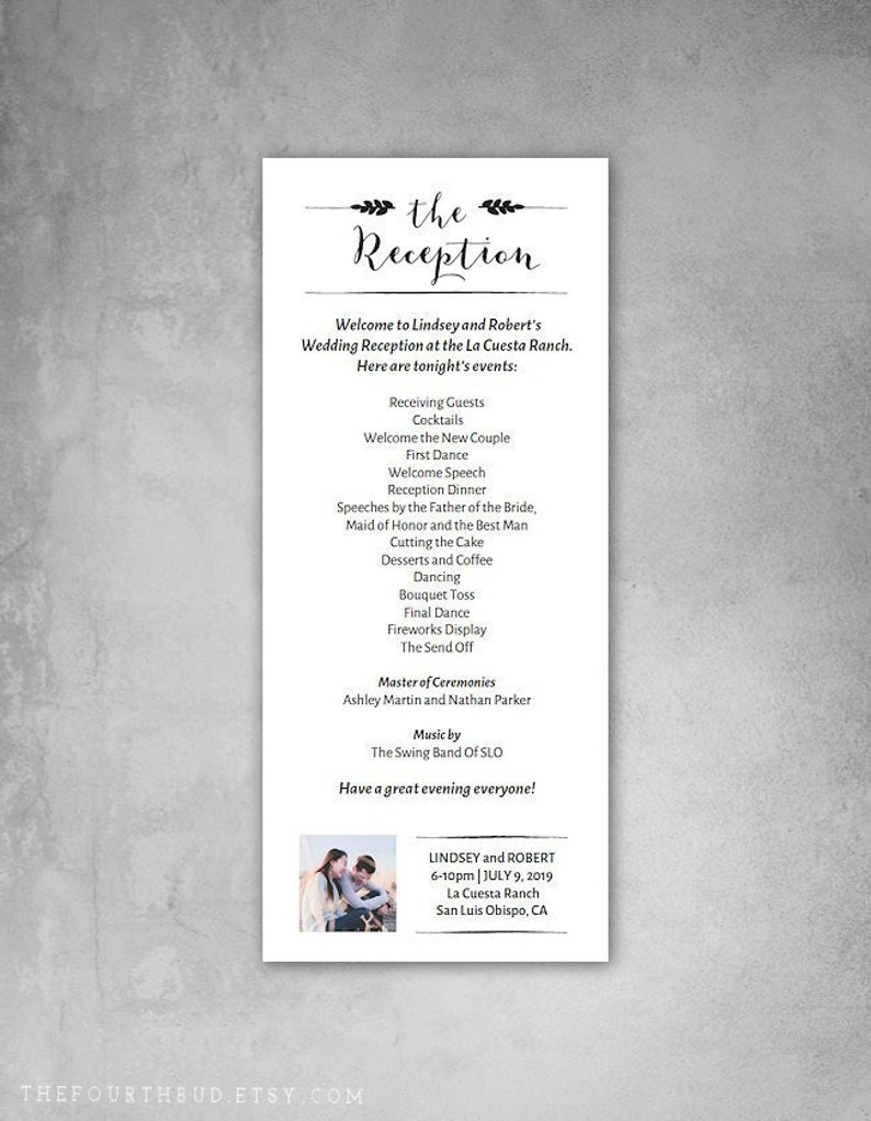 Wedding Reception Program.4 X 9 25 Wedding Reception Program Template With Photo Entry Wedding Program Template For Print Diy Adobe Reader Required