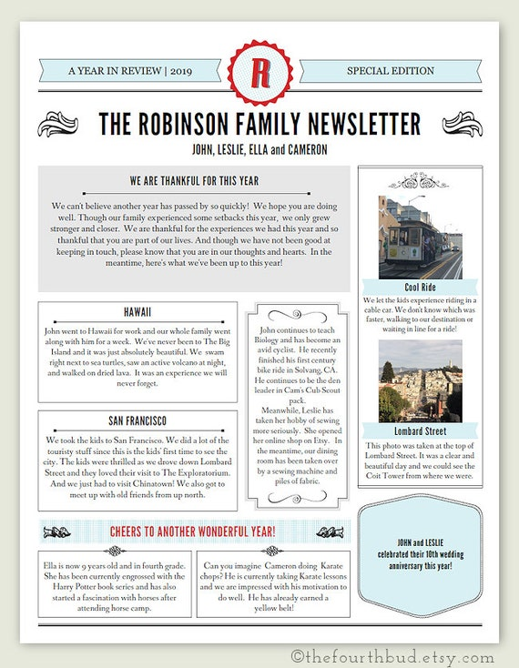 Christmas Newsletter Template In Pdf For Print Year In Review Special Edition Layout 4 2 Photo Entries Diy Adobe Reader Required