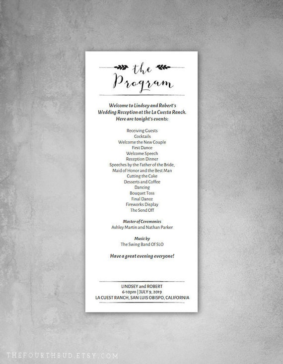 4 X 9 25 Wedding Program Template Reception Program Template For Print Diy Instant Download Adobe Reader Required