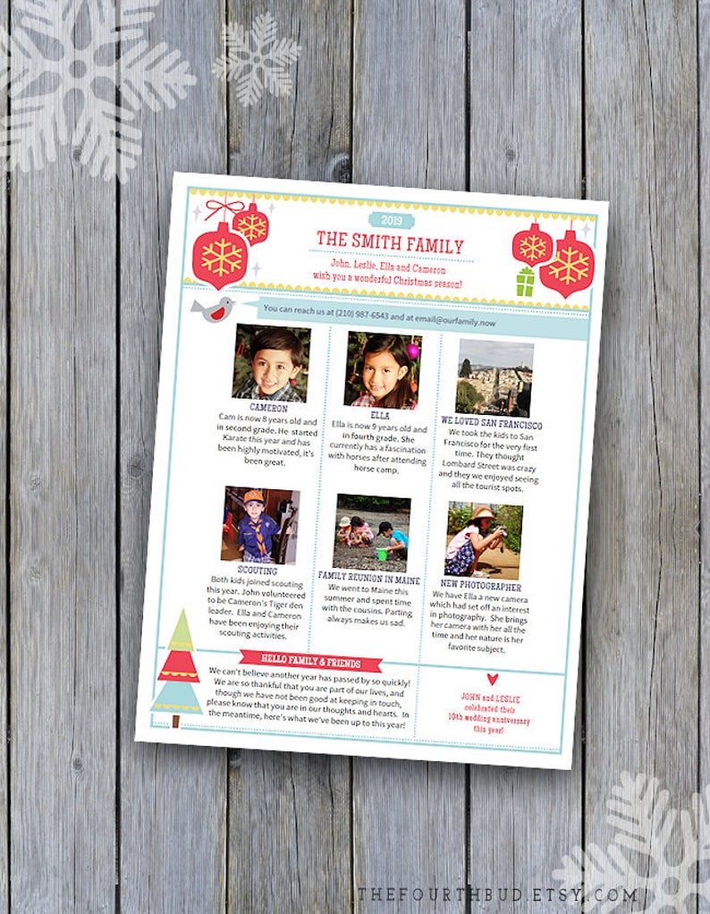 Christmas Newsletter Template in PDF for Print / Year In Review /
