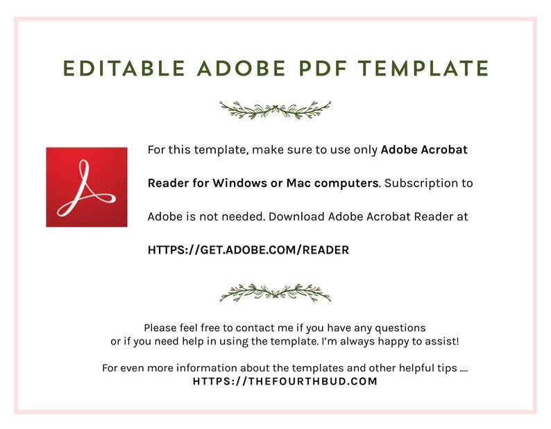 Minimalist Event Program Template in PDF  Trifold Wedding Program  For Print  Text Only  Foliage Layout 2  DIY  Adobe Reader Required