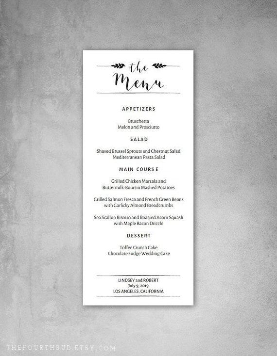 4 X 9 25 Menu Wedding Menu Template For Print Printable Menu Template Diy Adobe Reader Required
