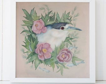 Night Heron and Peony Fine Art Giclee Print 12x12