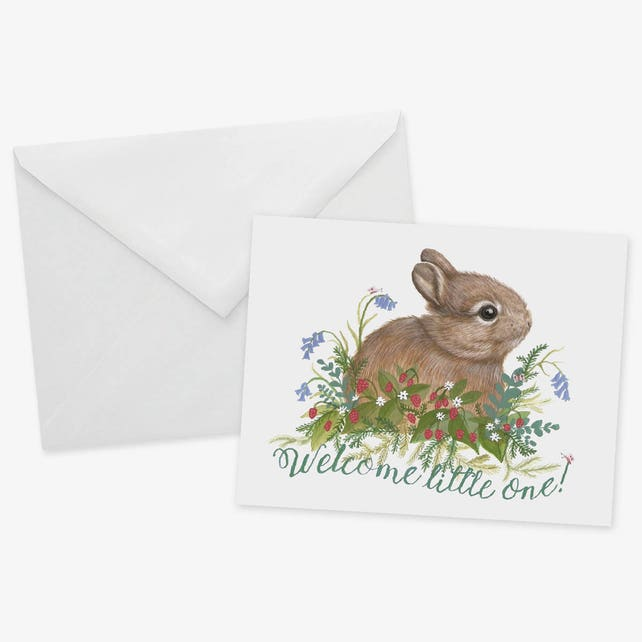 Welcome Little One Card 1pc Bunny Baby Card New Birth Conratulations