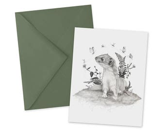 Weasel Botanical Card 1pc Blank A2 Note Card