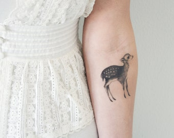 Temporary Tattoo Fawn and Moth (Includes 2 Tattoos)