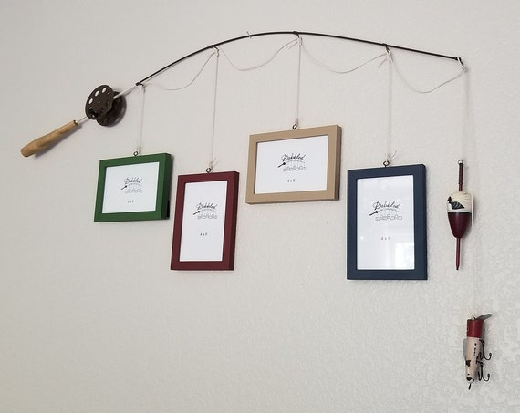 Fishing Pole Photo Frame - Silver or Brown Pole - 4 - 4 in x 6 in Picture Frames - Med Green, Dark Red, Khaki Tan, Deep Blue