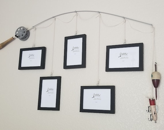 Fishing Pole Picture Frame - Brown or Silver Pole - 5 - 4 in x 6 in Picture Frames - Black Frames - Choice of Bobber/Lure