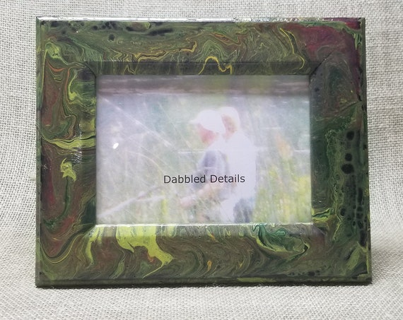 Fishing Picture Frame - Flat with Beveled Edges 5 x 7 - Acrylic Pour Paint Technique - Forest Moss Citrus Tompte Gold
