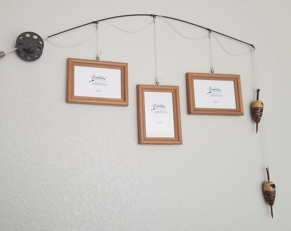 Fishing Pole Picture Frame - Brown Pole - 3 - 4 in x 6 in Picture Frames - Oak Stain