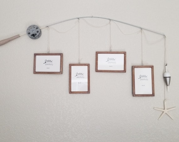 Fishing Pole Picture Frame - Silver Pole - 4 - 4 in x 6 in Picture Frames - Distressed Honey with Driftwood Stain