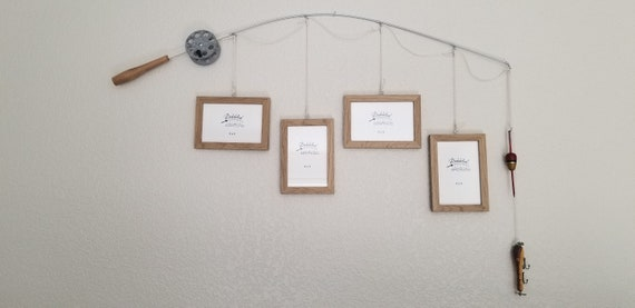 Fishing Pole Picture Frame - Brown or Silver Pole - 4 - 4 in x 6 in Picture Frames - Natural Wood Faux Finish
