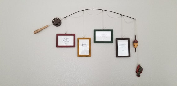 Fishing Pole Picture Frame - Brown Pole - 4 - 4 in x 6 in Picture Frames - Distressed Heritage Brick, Antique Gold, Forest, Burnt Umber