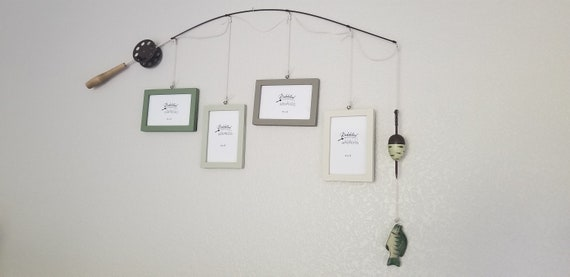 Fishing Pole Picture Frame - Brown Pole - 4 - 4 in x 6 in Picture Frames - Eucalyptus, Moss Green, Mudstone, Bleached Sand