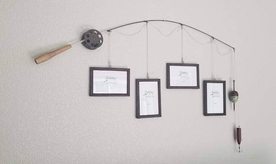 Fishing Pole Picture Frame - Brown Pole - 4 - 4 in x 6 in Picture Frames - Distressed Burnt Umber
