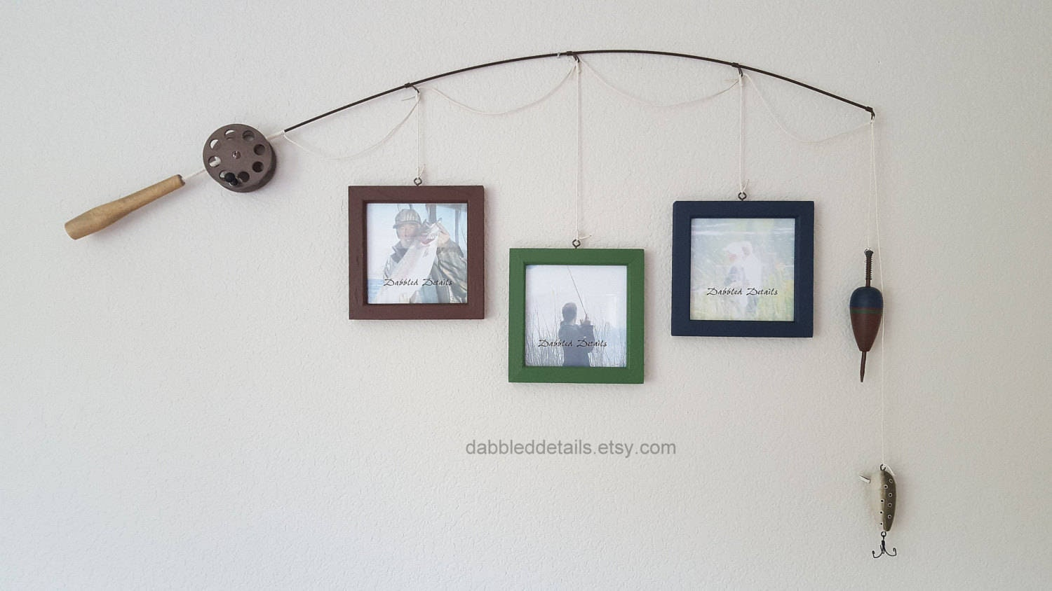 Fishing Pole Picture Frame Brown Or Silver Pole 3 5 In X 5 In