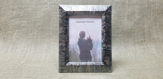 Fishing Picture Frame - Beveled 5 x 7 - Acrylic Pour Paint Technique - Moss Gold Black Silver