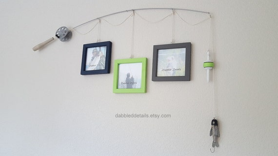 Fishing Pole Picture Frame - Silver Pole - 3 - 5 in x 5 in Picture Frames - Navy, Lime, Gray