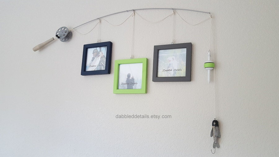 Fishing Pole Picture Frame - Silver Pole - 3 - 5 in x 5 in Picture ...