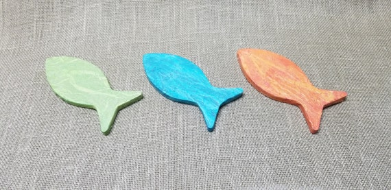 Wood Fish - Set of 3 - Fish Decor - Paper Decoupaged