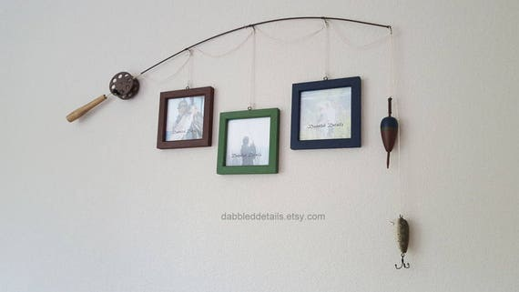 Fishing Pole Picture Frame - Brown or Silver Pole - 3 - 5 in x 5 in Picture Frames - Brown Velvet, Medium Foliage, Midnight Blue