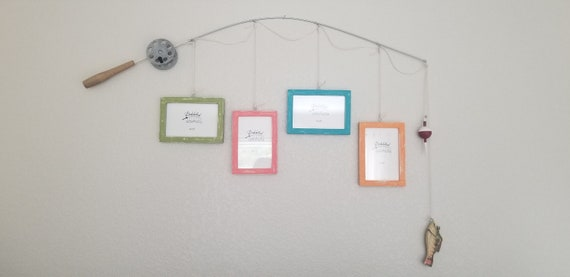 Fishing Pole Picture Frame - Silver Pole - 4 - 4 in x 6 in Picture Frames - Distressed Hauser Lt Green, Coral, Laguna, OJ