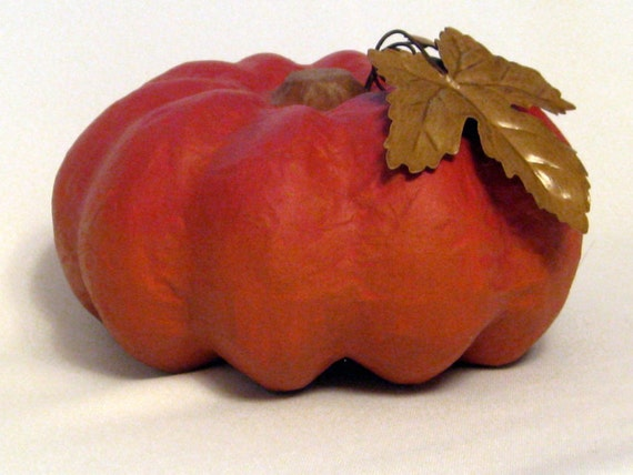Paper Mache Pumpkin Painted Orange Red Ombre with Metal Leaves