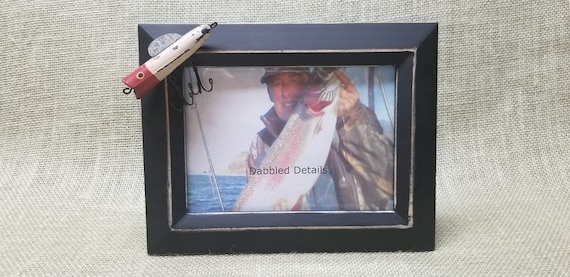 Fishing Picture Frame - Black Beveled 5 x 7 - Fishing Lure - Rustic Wooden