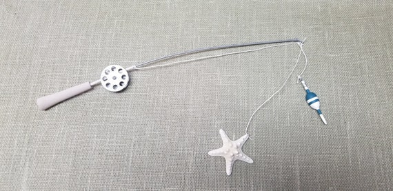Fishing Pole Decor - Silver Pole and Reel - Bobber and Starfish