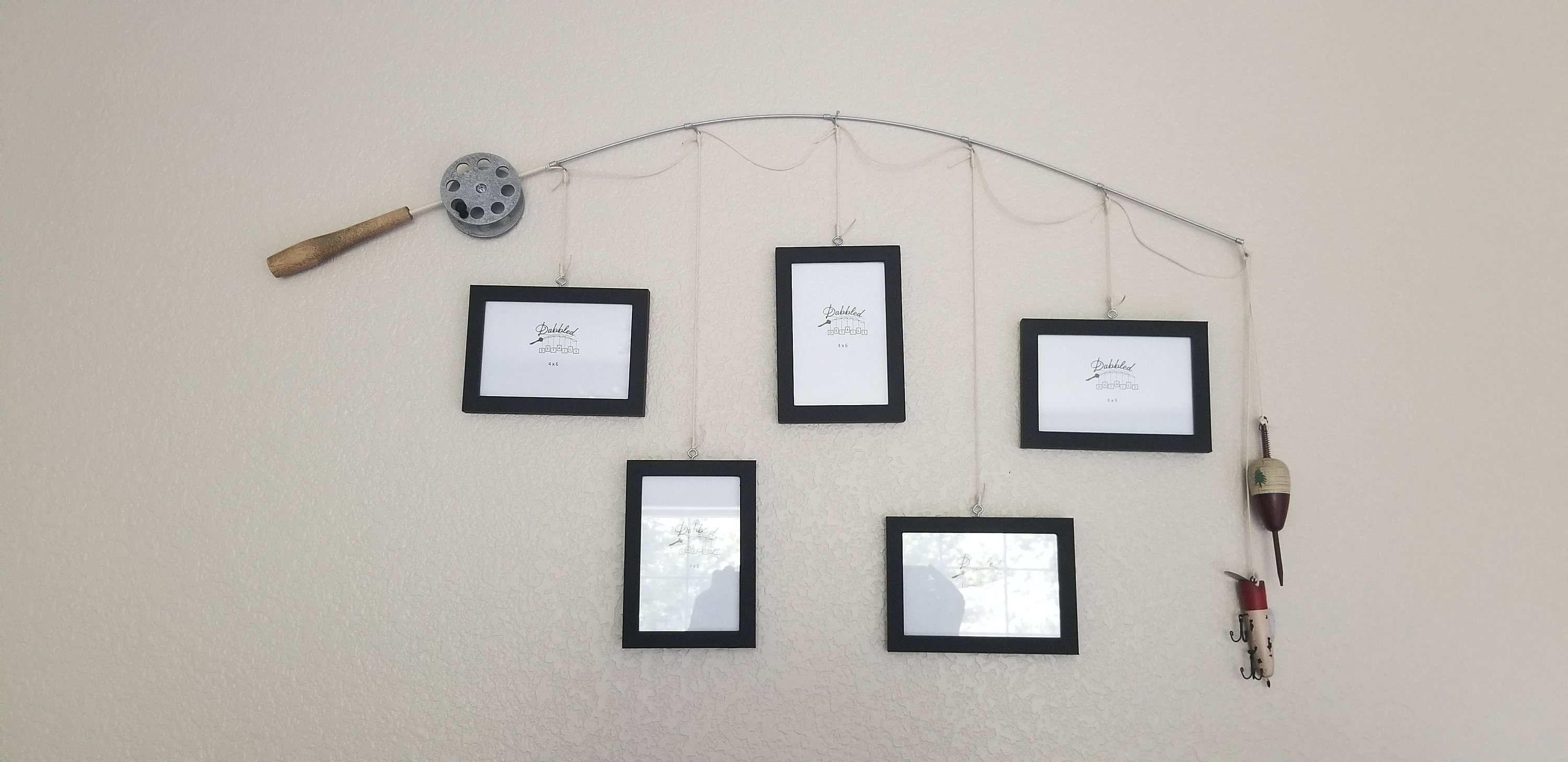 Fishing Pole Picture Frame - Brown or Silver Pole - 5 - 4 in x 6 in ...
