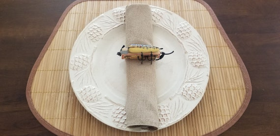 Fishing Lure Napkin Ring And Polyester Burlap Napkin - Fishing Theme Decor - Set of 8