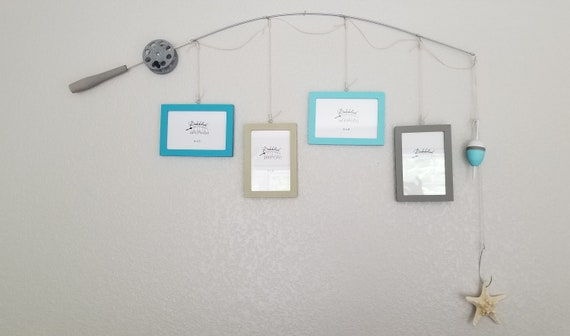 Fishing Pole Picture Frame - Silver Pole - 4 - 4 in x 6 in Picture Frames - Tahiti, Oatmeal, Caribbean, Chalk Grey