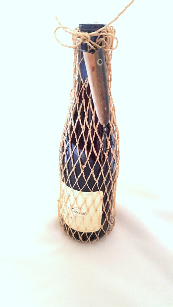 Fish Net Wine or Gift  Bag - Embellished with a Replica Rapala Lure