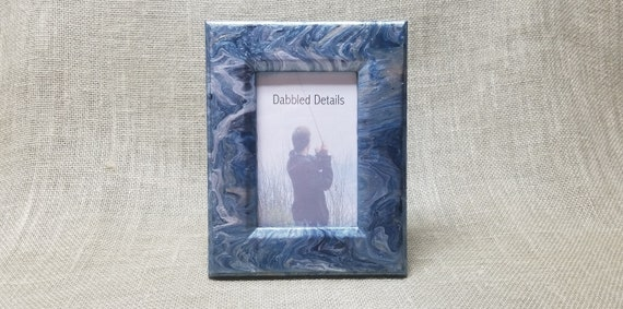 Fishing Picture Frame - Flat with Beveled Edges 4 x 6 - Acrylic Pour Paint Technique - Deep Blue Silver White