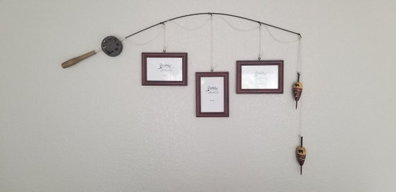 Fishing Pole Picture Frame - Silver or Brown Pole - 3 - 4 in x 6 in Picture Frames - Cherrywood Faux Finish