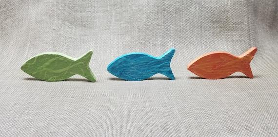Wood Fish - Set of 3 - Fish Decor - Paper Decoupaged