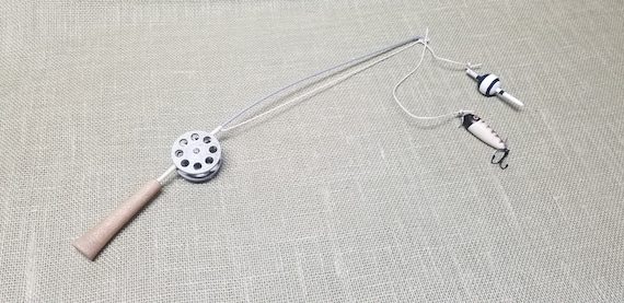 Fishing Pole Decor - Silver Pole and Reel - Bobber and Lure